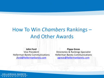 How To Win Chambers Rankings – And Other Awards - Hellerman