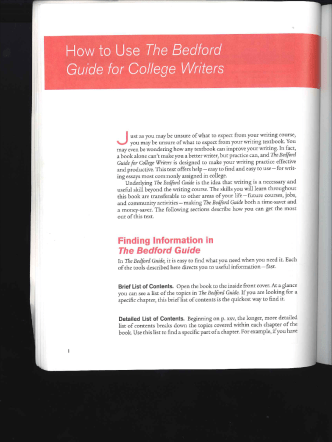 How to Use The Bee/ford Guide for College Writers