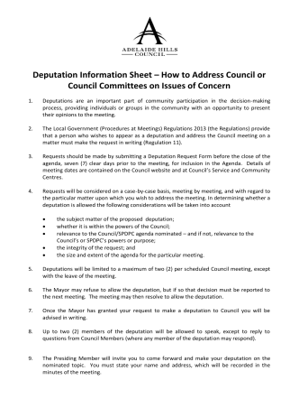 Deputation Information Sheet – How to Address Council or Council