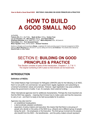 HOW TO BUILD A GOOD SMALL NGO