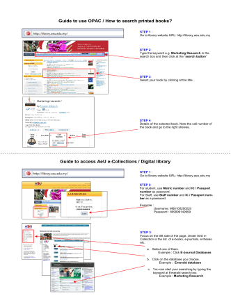 Guide to use OPAC / How to search printed books? Guide to - AeU