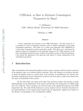 arXiv:astro-ph/0303072v1 4 Mar 2003 CMB-slow, or How to