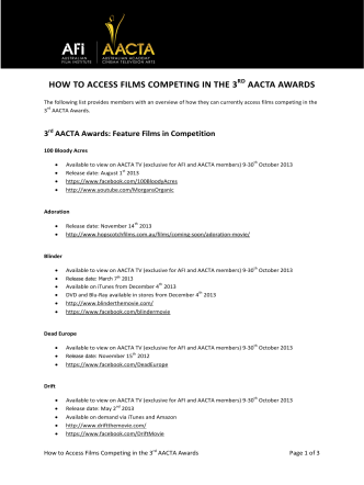 HOW TO ACCESS FILMS COMPETING IN THE 3RD AACTA AWARDS