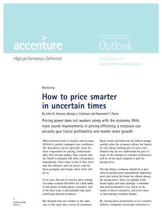 How to price smarter in uncertain times - Accenture