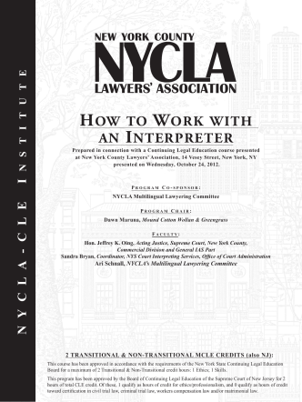 How to work witH an interpreter - New York County Lawyers