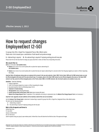 How to request changes EmployeeElect (2–50) - Anthem