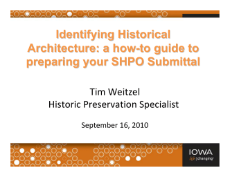 Identifying Historical Architecture: a how-to guide to preparing your