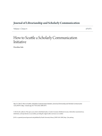 How to Scuttle a Scholarly Communication Initiative - Journal of