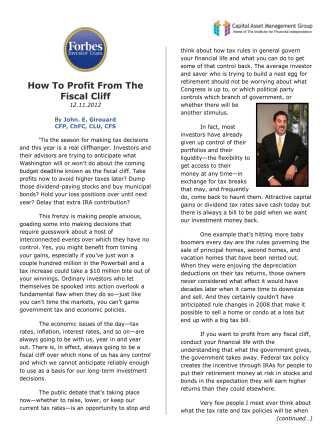 How To Profit From The Fiscal Cliff - Capital Asset Management Group