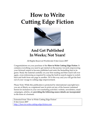 How to Write Cutting Edge Fiction - Online Free Host of.com