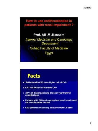 How to use antithrombotics in patients with renal - CardioEgypt.com