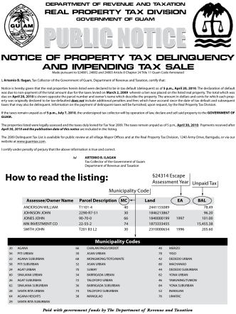 How to read the listing: - Department of Revenue and Taxation