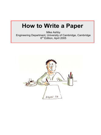How to Write a Paper - Mechanics, Materials, and Design