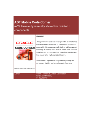ADF Code Mobile Corner: How-to dynamically show-hide - Oracle