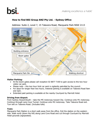 How to find BSI Group ANZ Pty Ltd. - Sydney Office Address: Suite 2