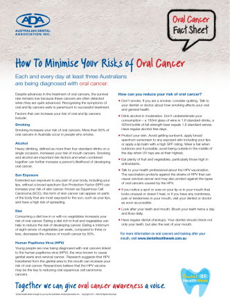 How To Minimise Your Risks of Oral Cancer - Oral cancer Facts