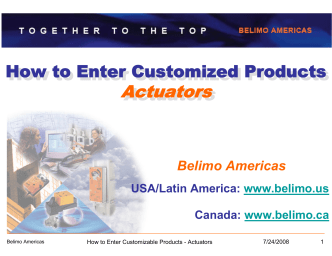 How to Enter Customized Products - Actuators