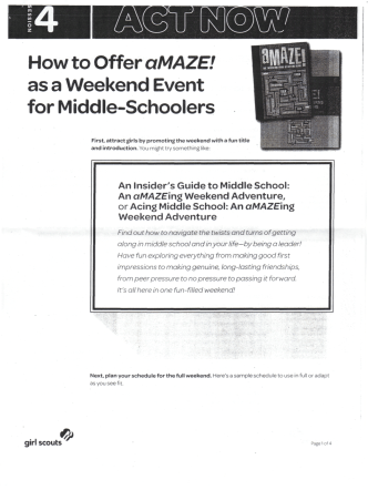 How to Offer aMAZE! as a Weekend Event for Middle-Schoolers