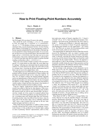 How to Print Floating-Point Numbers Accurately