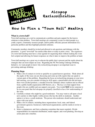 "Alcopop Reclassification How to Plan a ""Town Hall"" Meeting - Youth"