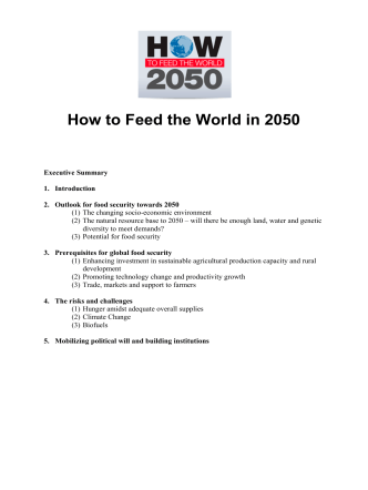 How to Feed the World in 2050 - Food and Agriculture Organization