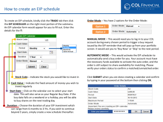 How to create an EIP schedule - COL Financial