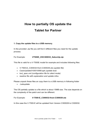 How to OSUpdate Partially Tablet for Partner - OrgaCard