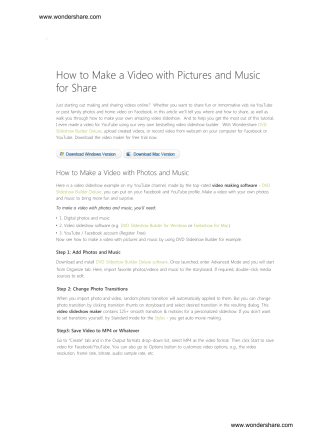 How to Make a Video with Pictures and Music for - Wondershare