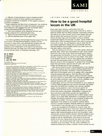 How to be a good hospital locum in the UK - SAMJ Archive Browser