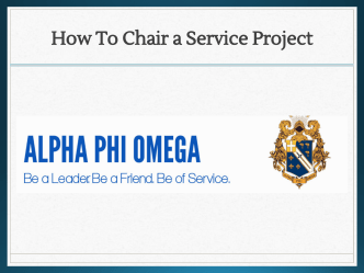 How To Chair a Service Project