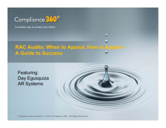 RAC Audits: When to Appeal, How to Appeal RAC - Compliance 360