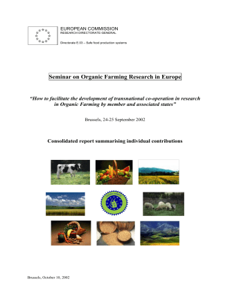 Seminar on Organic Farming Research in Europe - European