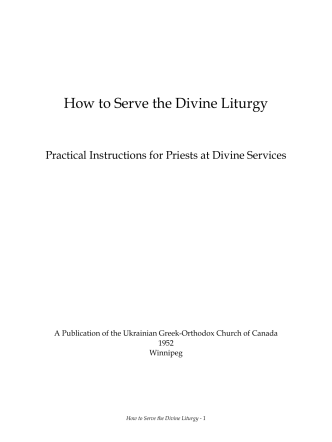How to Serve the Divine Liturgy - Ukrainian Orthodox Church of