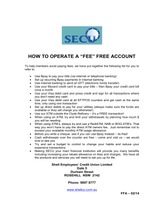 "HOW TO OPERATE A ""FEE"" FREE ACCOUNT - Shell Employees"