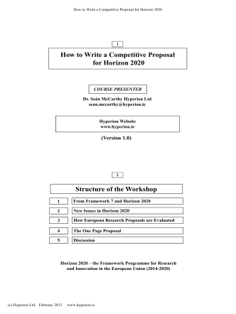How to Write a Competitive Proposal for Horizon 2020 Structure of
