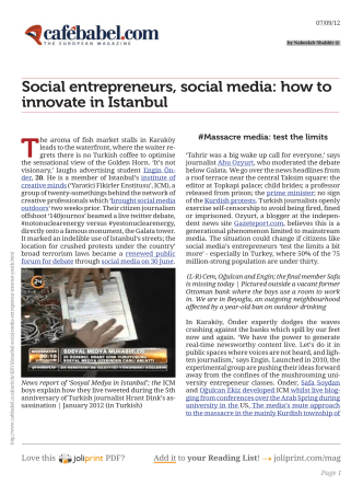 Social entrepreneurs, social media: how to innovate in Istanbul