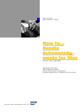 How To… Handle Acknowledg- ments for IDoc - SAP Community