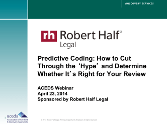Predictive Coding: How to Cut Through the Hype and - ACEDS