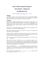 How to Write Computer Programs John Scholes – Dyalog Ltd john