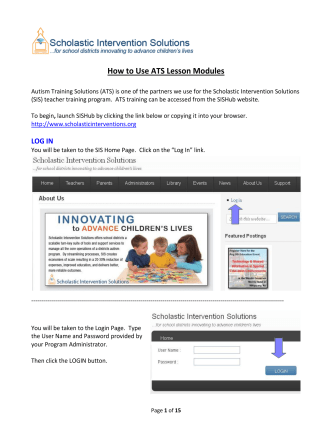 How to Use ATS Lesson Modules - Scholastic Intervention Solutions