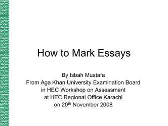 How to Mark Essays