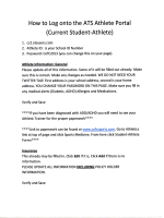 How to Log onto the ATS Athlete Portal (Current Student-Athlete)