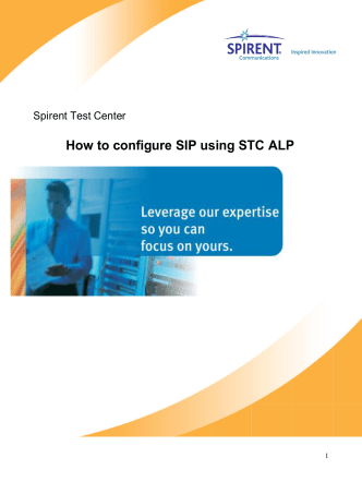 How to configure SIP using STC ALP - Spirent Knowledge Base