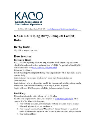 KACOs 2014 King Derby Complete Contest Rules - KACO King Derby