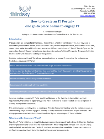 How to Create an IT Portal – one go-to place online to - Third Sky