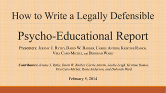 How to Write a Legally Defensible Psycho-Educational - wacsep