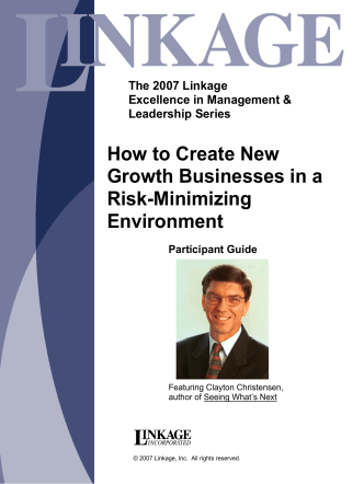 How to Create New Growth Businesses in a Risk - Linkage, Inc.
