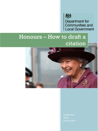 Honours – How to draft a citation - Local Government Association
