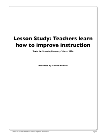 Lesson Study: Teachers learn how to improve - Sjcoertac.org