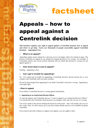 Appeals – how to appeal against a Centrelink decision